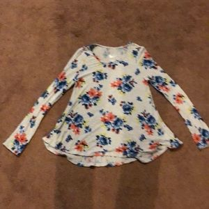 Justice long sleeve floral size 10 girls shirt